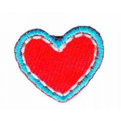 Applikation Herz klein rot-blau/blau/grün - 5 Stück