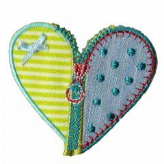 Applikation Herz mit Reißverschluss grün/dunkelblau - 5 Stück