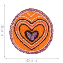 Applikation Button mit Herz jeans/orange/lila - 5 Stück