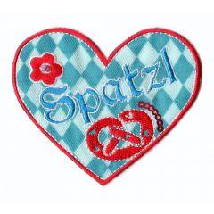 Applikation Herz Spatzl - 5 Stück