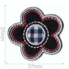 HKM Applikation Blume 37x37mm schwarz - 5Stk