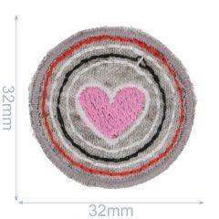 Applikation Kreis mit Herz - 5 Stück