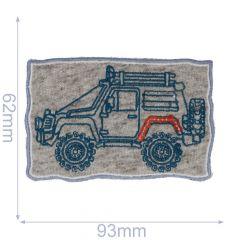 HKM Applikation Jeep 95x60mm grau-blau - 5Stk