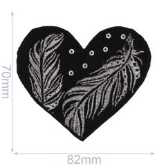Applikation Herz schwarz mit silber/bronze Feder - 5 Stück