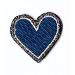 Applikation Herz blau klein - 5 Stück