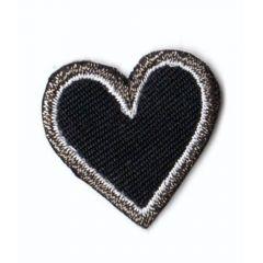 Applikation Herz schwarz klein - 5 Stück
