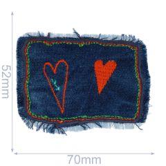 Applikation Herzchen auf Jeans - 5 Stück