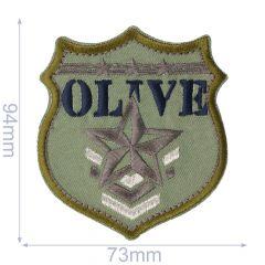 Applikation Schild OLIVE - 5 Stück