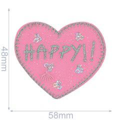 Applikation Herz HAPPY - 5 Stück