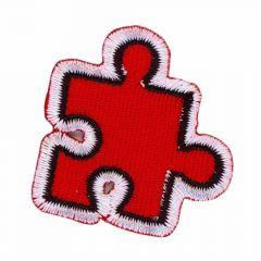 Applikation Puzzlestück rot - 5 Stück