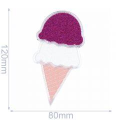 Applikation Eis im Hörnchen 80x120mm - 5 Stück