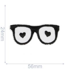 Applikation Brille Herzchen - 5 Stück