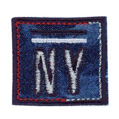 Applikation NY Viereck rot-Jeans - 5 Stück