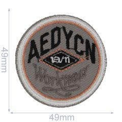 Applikation Kreis Aedycn orange-grau - 5 Stück
