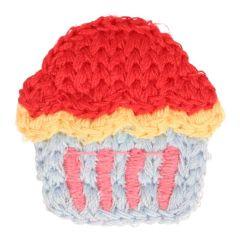 Applikation gestrickt Cupcake klein - 5 Stück