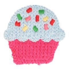Applikation gestrickt Cupcake groß - 5 Stück