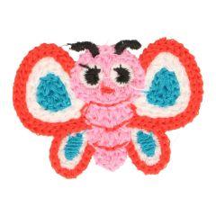 Applikation gestrickt Schmetterling rot/petrol - 5 Stück