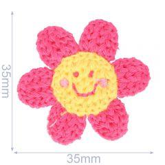 Applikation Blume gestrickt 35x35mm rosa - 5Stk