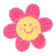 Applikation gestrickt Blume mit Gesicht - 5 Stück