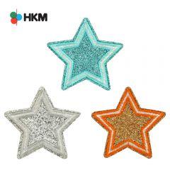 HKM Applikation Sterne Glitzer - 3Stk