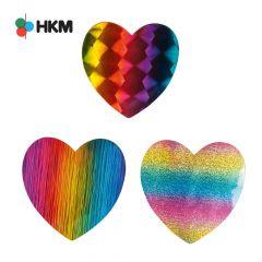HKM Applikation Herz Regenbogen - 3Stk