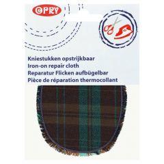 Opry Knie-Flicken aufbügelbar kariert 12x9,5cm - 5Stk