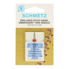 Schmetz Sticken Zwilling 1 Nadel - 10Stk