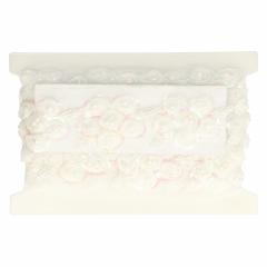 Band Blume + Perle weiß oder ecru 80mm - 6.60m