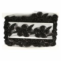 Band Blume + Perle schwarz 80mm - 6.85m