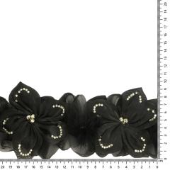 Band Blumen mit Strass und Federn 110mm schwarz - 6m