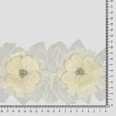 Band Blumen mit Strass 110mm - 10m