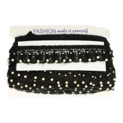 Band elastisch mit Perlen 5.5cm - schwarz / weiß - 20m