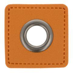 Ösen auf braunem Kunstleder Quadrat 8mm - 50Stk