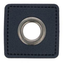 Ösen auf blauem Kunstleder Quadrat 11mm - 50Stk