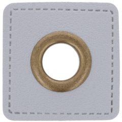 Ösen auf grauem Kunstleder Quadrat 8mm - 50Stk