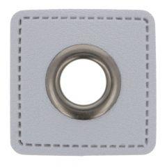 Ösen auf grauem Kunstleder Quadrat 11mm - 50Stk