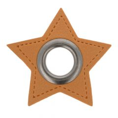 Ösen auf braunem Kunstleder Stern 8mm - 50Stk