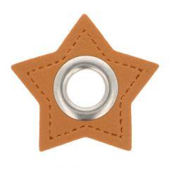 Ösen auf braunem Kunstleder Stern 11mm - 50Stk