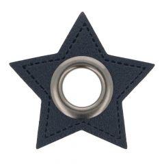 Ösen auf blauem Kunstleder Stern 11mm - 50Stk