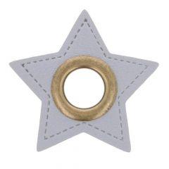 Ösen auf grauem Kunstleder Stern 8mm - 50Stk