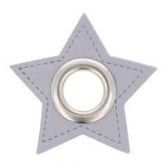 Ösen auf grauem Kunstleder Stern 11mm - 50Stk