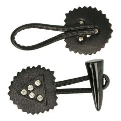Knebelknopf-Verschluss Horn Strass - 12 Stück