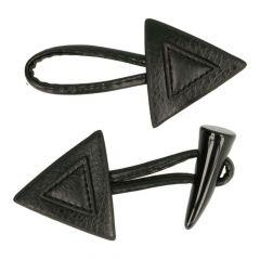 Knebelknopf-Verschluss Horn Dreieck - 12 Stück