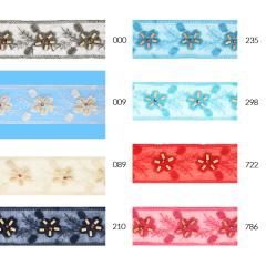 Tüllband Blumen mit Holzperlen 55mm - 14,2m