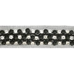 Tüllband mit Strasssteinen und Perlen 30mm schwarz - 9,6m