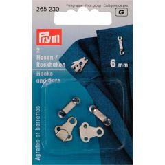 Prym Hosen/Rockhaken und Stege ST 6mm silberf. - 5 Stück G