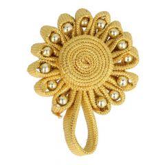 Chinesischer Verschluss Blume/Perle 6cm - 12 Stück - gold