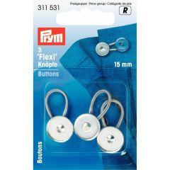 Prym Flexi-Knöpfe mit Schlaufe 15mm silber - 5x3Stk