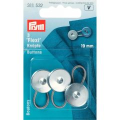 Prym Flexi-Knöpfe mit Schlaufe 19mm silber - 5x3Stk