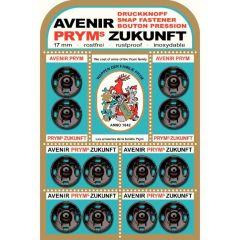 Prym Annäh-Druckknopf Messing 17mm schwarz - 5x12Stk